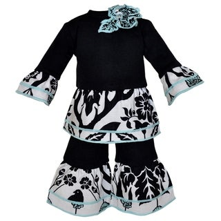 AnnLoren Black and Blue Floral Ruffle 2-piece Doll Outfit