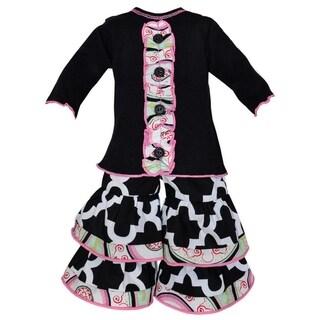 AnnLoren Black Lattice and Medallion Tuxedo Ruffle Doll Outfit
