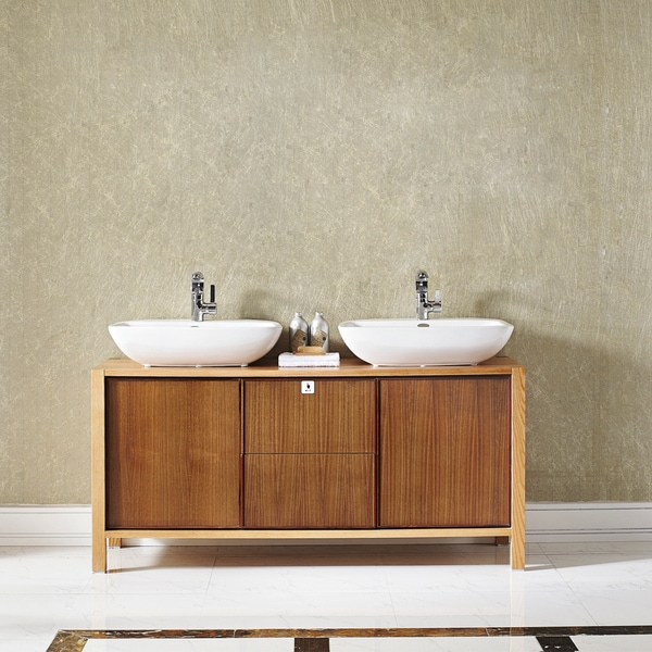Vinnova Monza  Inch American Red Oak Double Vanity With White Vessel Sink