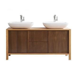 Vinnova Monza 60-inch American Red Oak Double Vanity with White Vessel Sink