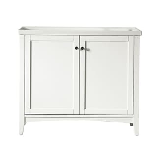 Asti 40-inch White Single Vanity with White Drop-in Porcelain Vessel