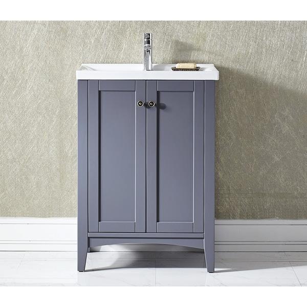 Vinnova Asti 24 Inch Grey Single Vanity With White Drop In Porcelain Vessel 17412326