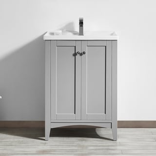 Asti 24-inch Single Vanity in Grey with White Drop-In Porcelain Vessel (Mirrorless)