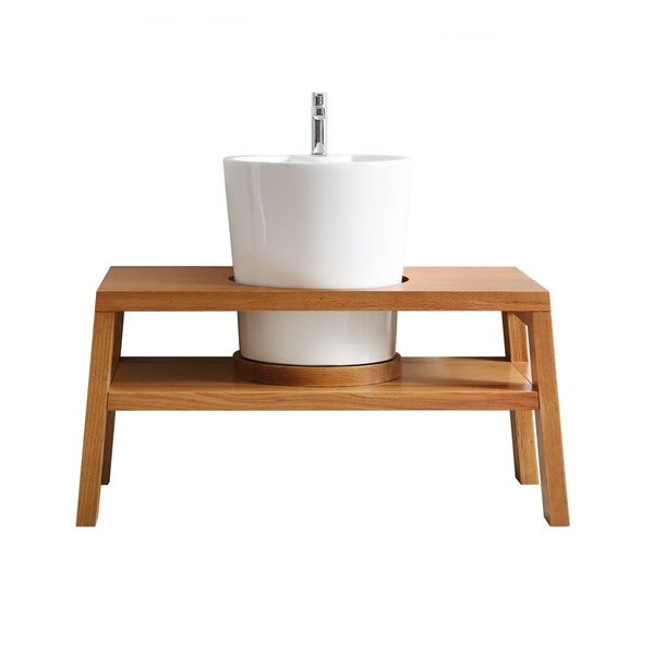 Lecce Seven Inch Single Vanity In American Red Oak With White Vessel Sink Mirrorless Free