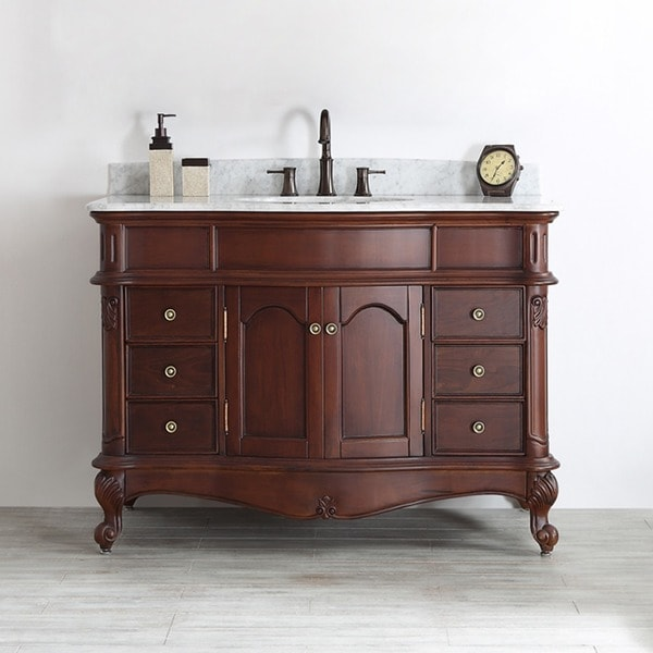 48 inch single vanity in antique cherry with carrara white marble top