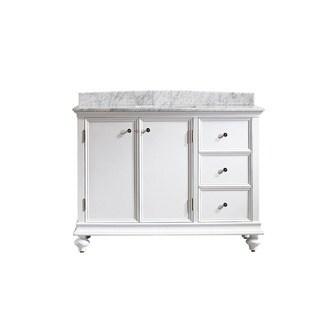 Vinnova Venice 48-inch Single Vanity in White with Carrara White Marble Top (Mirrorless)