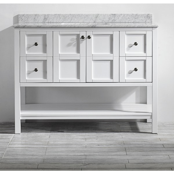 Florence 48-inch Single Vanity in White with Carrara White Marble Top (Mirrorless)