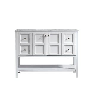 Vinnova Florence 48-inch White Mirrorless Single Vanity with Carrara White Marble Top