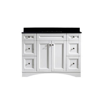 Vinnova Bologna 48-inch Single Vanity in White with Black Glaxy Granite Top (Mirrorless)