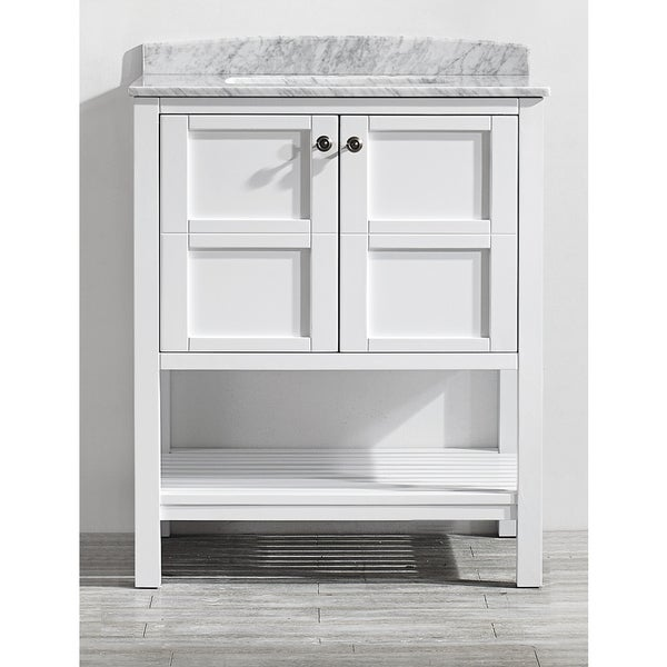 Florence 30-inch Single Vanity in White with Carrara White Marble Top (Mirrorless)