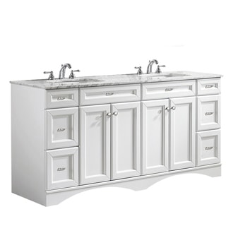 Vinnova Naples 72-inch Double White Mirrorless Vanity with Carrera White Marble Top