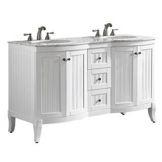 Vinnova Verona 60-inch Double Vanity in White with Carrara White Marble Top (Mirrorless)