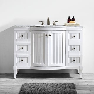 Vinnova Verona 48-inch Single Vanity in White with Carrara White Marble Top (Mirrorless)