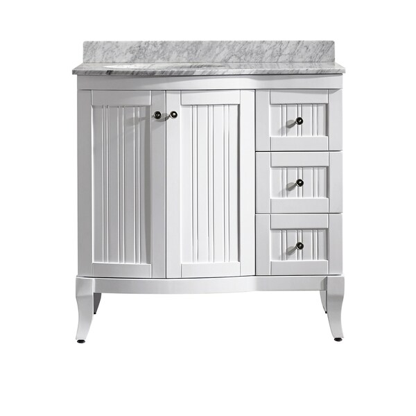 36 Inch White Vanity With Marble Top