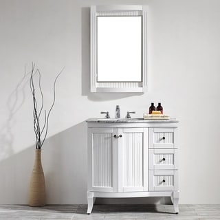 Verona 36-inch Single Vanity in White with Carrara White Marble Top with Mirror