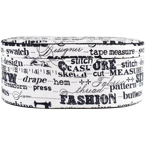 Sewing Basket Oval 9inX6.25inX3.625in Black On Cream Print
