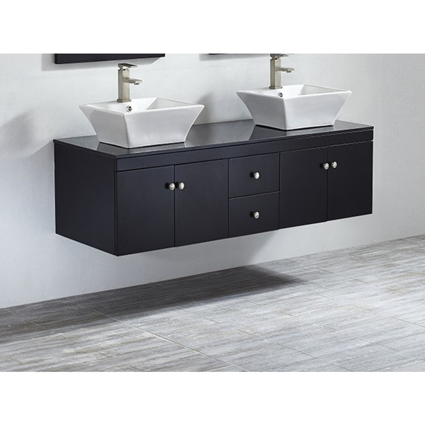 Vinnova ravenna 60 inch double espresso vanity with white for Bathroom 4 less review