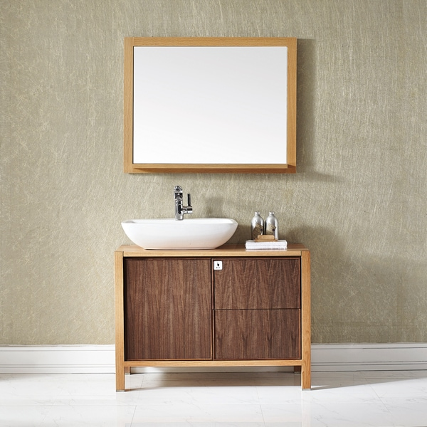 Monza 40-inch Single Vanity in American Red Oak with Vessel Sink in White with Mirror