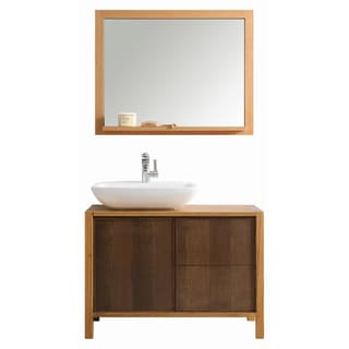 Monza 40-inch American Red Oak Single Vanity with White Vessel Sink and Mirror