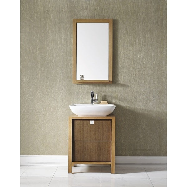 Monza 24-inch Single Vanity in American Red Oak with Vessel Sink in White with Mirror