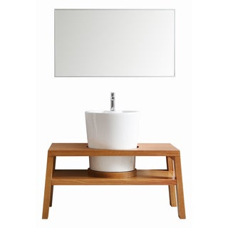 Vinnova lecce 47-inch American Red Oak Single Vanity with White Vessel Sink, and Mirror