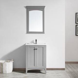 Asti 24-inch Single Vanity in Grey with White Drop-In Porcelain Vessel with Mirror