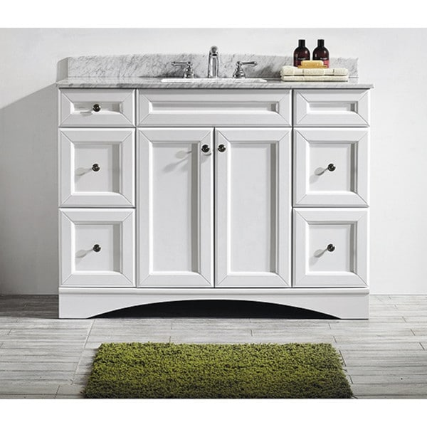 naples 48 inch single vanity in white with carrera white marble top