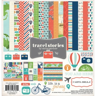 Carta Bella Collection Kit 12inX12in Travel Stories