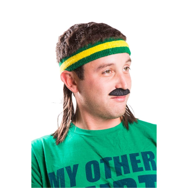 The Bogan Mullet Headband Combo Brown Green Yellow Costume Accessory