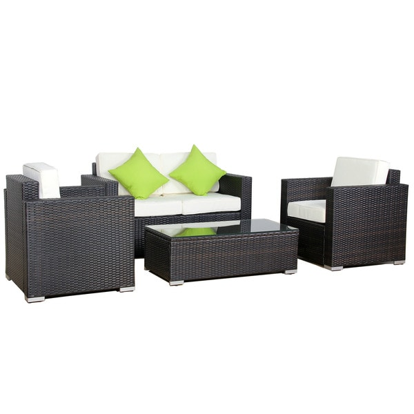 Kokols 4-Piece Rattan Outdoor Sofa Set with Cushions