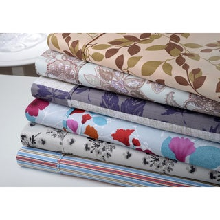 Bibb Home Brushed Printed Microfiber 6-piece Deep Pocket Sheet Set