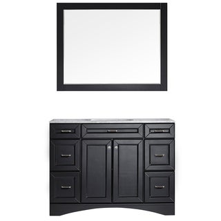 Naples 48-inch Single Vanity in Espresso with Carrara White Marble Top with Mirror