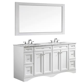 Naples 72-inch Double Vanity in White with Carrara White Marble Top with Mirror