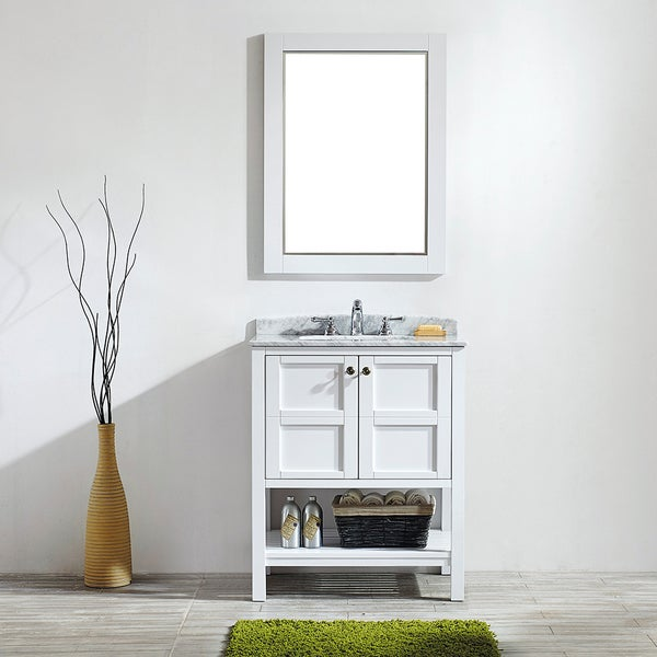 Catania 36 Single Vanity Espresso With Carrera White Marble Top With Mirror