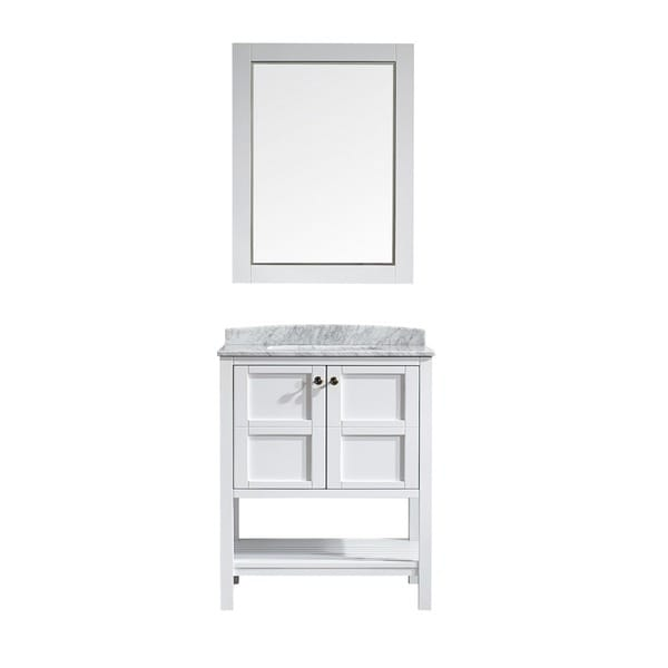 Vinnova Florence  Inch White Single Vanity With Carrera White Marble Top And Mirror