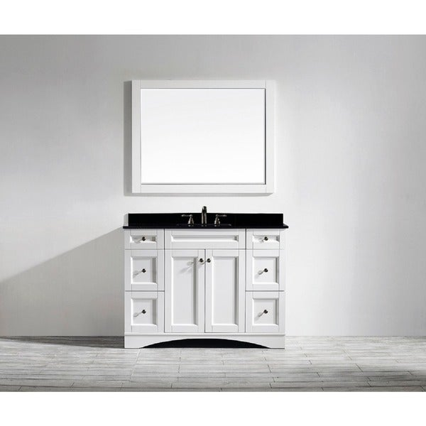 bologna 48 inch single vanity in white with black galaxy granite top