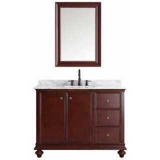 Vinnova Venice 48-inch Antique Cherry Single Vanity with Carrara White Marble Top, and Mirror