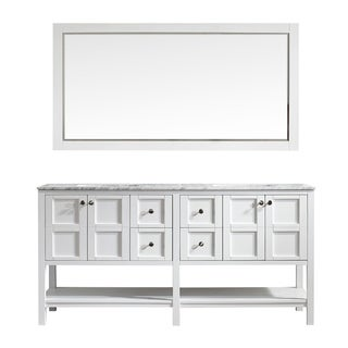 Florence 72-inch Double Vanity in White with Carrara White Marble Top with Mirror