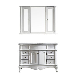 Vinnova Messina 48-inch Single Vanity in White with Carrara White Marble Top with Mirror