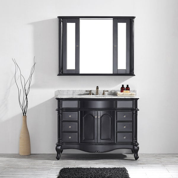 48 inch single vanity in espresso with carrara white marble top with