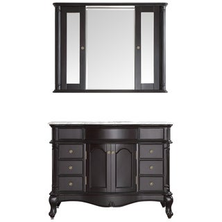 Messina 48-inch Single Vanity in Espresso with Carrara White Marble Top with Mirror