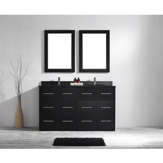Latina 60-inch Double Vanity in Espresso with Black Glaxy Granite Top with Mirror