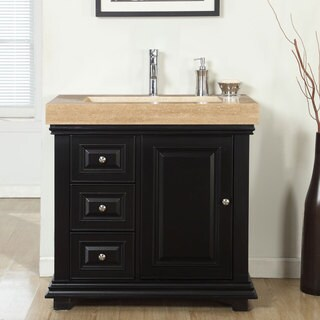 Silkroad Exclusive 36-inch Integrated Travertine Sink Bathroom Single Vanity with Drain on the Right