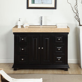 Silkroad Exclusive 48-inch Integrated Travertine Stone Sink Bathroom Single Vanity