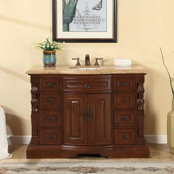 silkroad exclusive 48 inch travertine stone top bathroom single sink