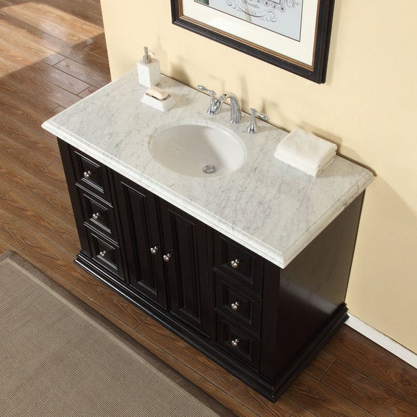 48 inch carrara white marble stone top bathroom single sink vanity