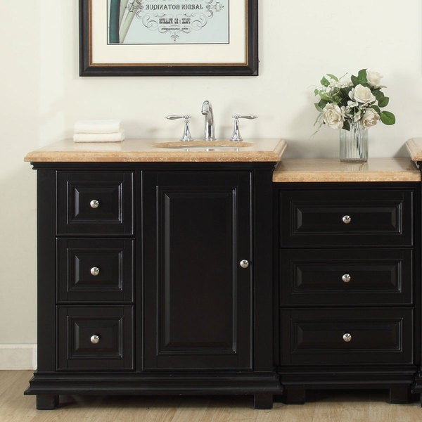 Silkroad Exclusive 56-inch Travertine Stone Top Bathroom Single Modular Vanity with Sink on the Right