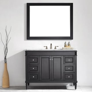 Catania 48-inch Single Vanity in Espresso with Carrara White Marble Top with Mirror