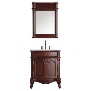 Vinnova Messina 30-inch Single Vanity in Antique Cherry with Carrara White Marble Top with Mirror