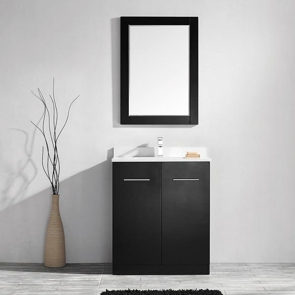 Taranto 30-inch Single Vanity in Espresso with White Quartz Marble Top with Mirror